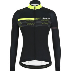 Santini Poi LS Jersey Men, black/yellow fluo